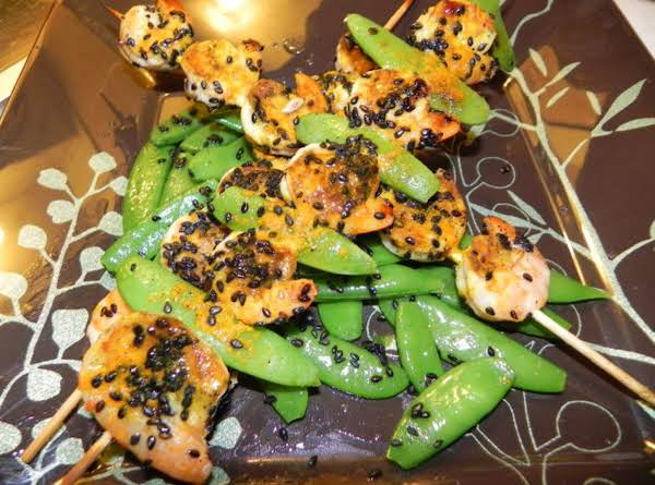 Grilled Shrimp Skewers With Sugar Snap Peas Recipe