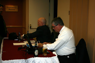 Photo: Rod Potter and Don Weekes at the welcome desk