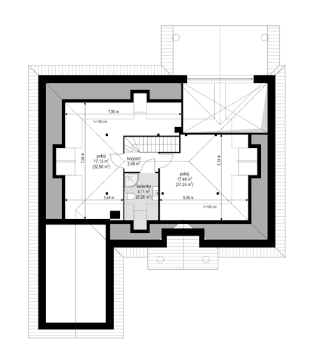 Dom na parkowej 5 - Rzut poddasza do adaptacji