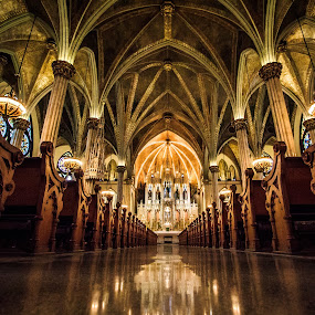 Sweetest Heart of Mary by Angelica Less - Buildings & Architecture Places of Worship ( orange, warm, pew, church, catholic, alter,  )