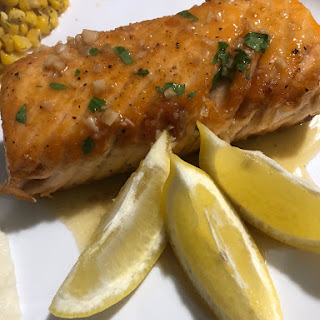 Pan Seared Salmon with a Garlic Lemon Butter Sauce Recipe