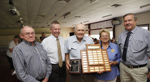 Kevin Roden, centre, accepts his award and congratulations from Wee Waa Lions president Maxine Booby, pictured with from left Wee Waa Bowling Club manager Campbell Miller, Federal Member for Parkes Mark Coulton and co-ordinator of the award event Ron Lowder. Mr Roden was also given a special presentation by Mr Miller on behalf of the Bowling Club.