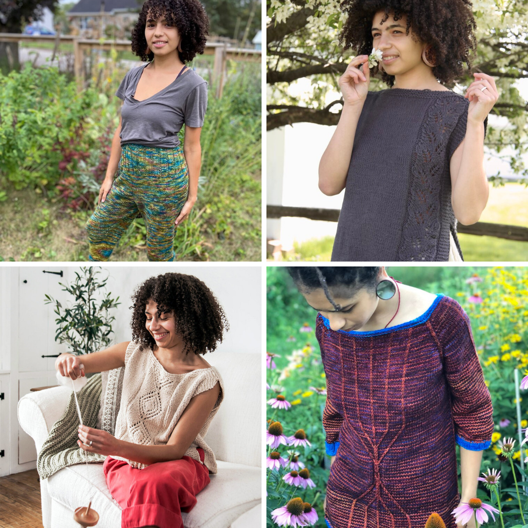 A collage of designs by Lauren McElroy - handknit leggings, two handknit tees with lace detailing and an elaborately striped and twisted stitch sweater design.