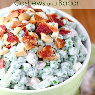 Pea Salad with Cashews and Bacon.