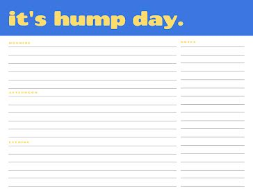 Hump Day Planner - Daily Planner template