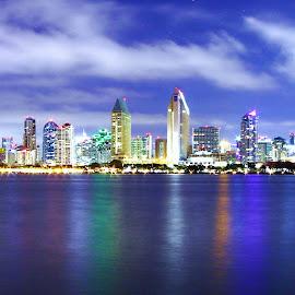 Beautiful San Diego by Kelly Kufa - City,  Street & Park  Skylines ( water, san diego, beautiful colors, ocean, night,  )