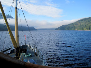 Photo: Motoring out Alberni Inlet