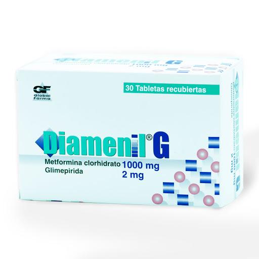 Metformina + Glimepirida Diamenil G 1000/2mg x 30 Tabletas