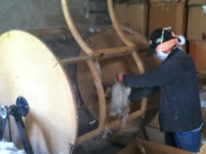 Photo: Big alpaca fiber spinner at local mill.