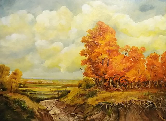 """Autumn's Glory"" by Dimitrina Stamboldjiev Kutriansky. Oil on Canvas Panel. 18""x24"". $700."