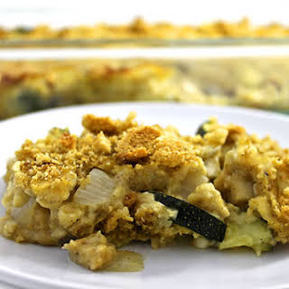 Skinny Chicken, Vegetable and Stuffing Casserole.