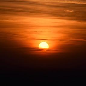 Yellow dwarf by Slaven Bandur - Landscapes Sunsets & Sunrises ( sky, red, chemtrails, golden hour, nature, sunset, black, autumn, clouds, evening, sun, colorful )