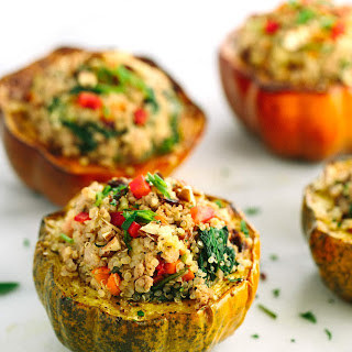 Roasted Acorn Squash with Turkey Quinoa Stuffing