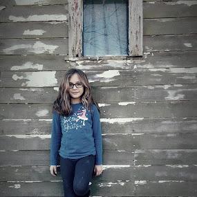 Laney Under the Window by Lauren DeJarnatt Yoder - People Family ( girl, barn, window, outside, portrait,  )