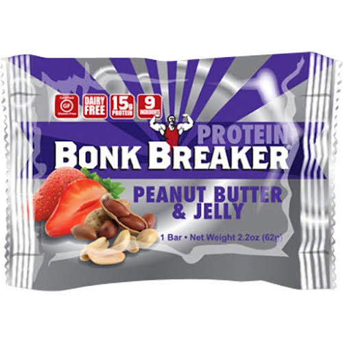 Bonk Breaker High Protein Energy Bar: Peanut Butter and Jelly, Box of 12