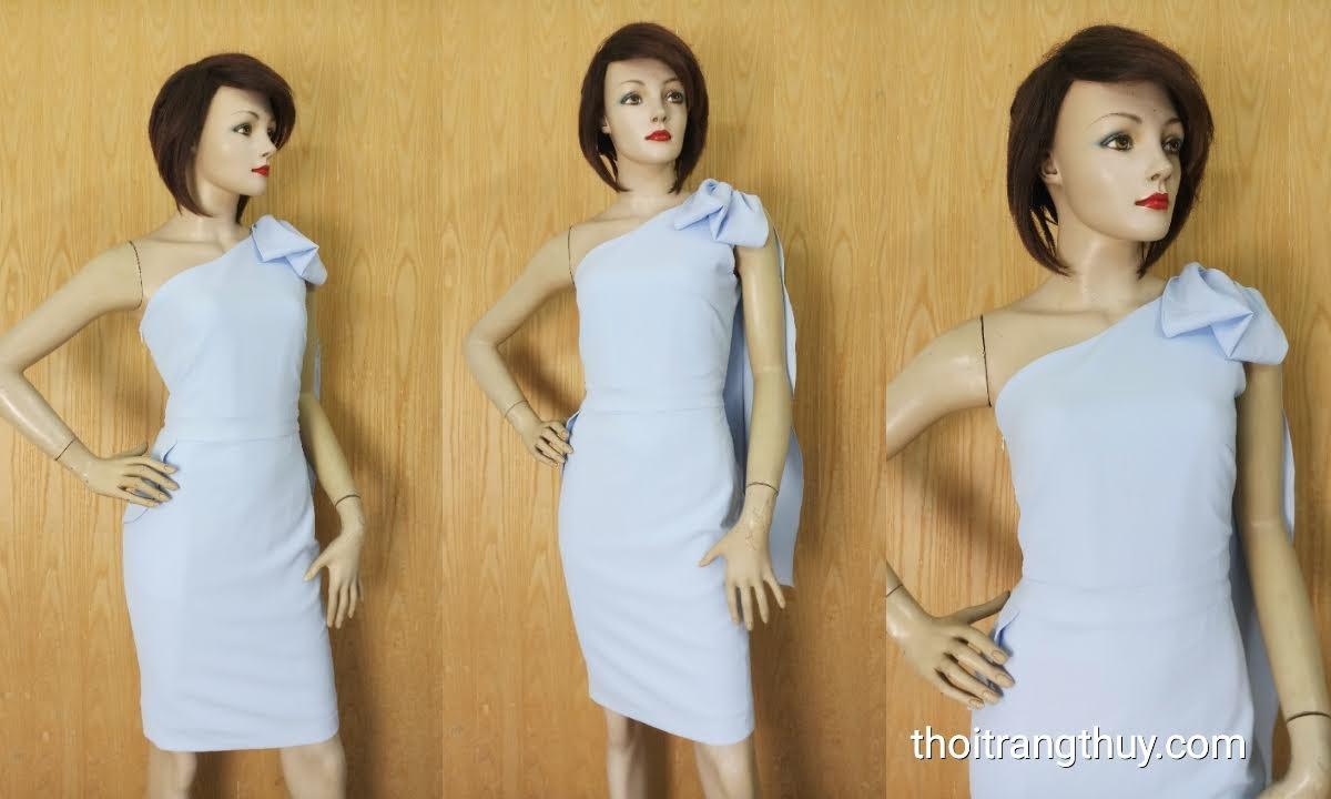 Váy lệch vai phối nơ dáng ôm mặc dự tiệc V626 tại Hải Phòng