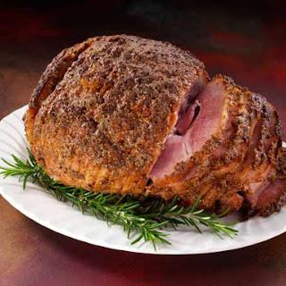 Brown Sugar Rosemay Mustard Glazed Ham.