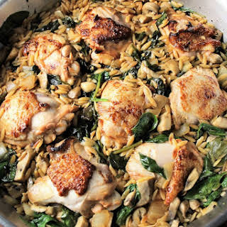 One Skillet Chicken and Spinach Mushroom Orzo.
