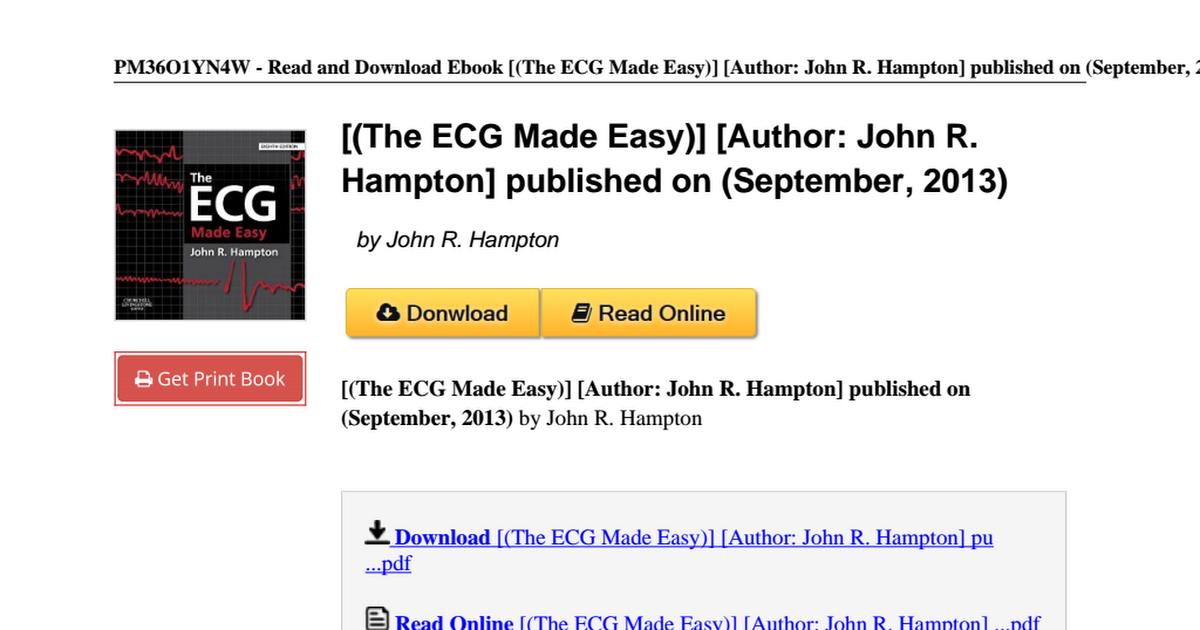 The Ecg Made Easy Author B00y2w2qk4 Pdf Google Drive