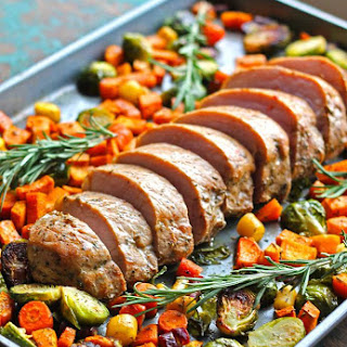 One Pan Pork Loin Filet with Fall Vegetables.