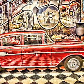 Floored Car by Larry Crawford - Transportation Automobiles ( reflection, red, old car, inside, us 66,  )