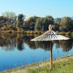 Silver lake, Serbia by Irena Čučković - Landscapes Waterscapes ( serbia, umbrella, lake, sunshade, danube )