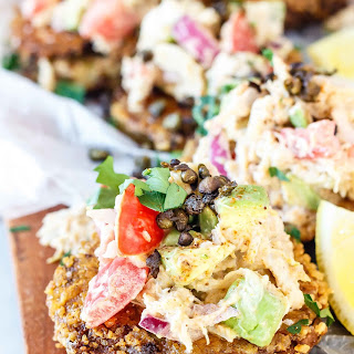 Keto Fried Green Tomatoes with Crab Avocado Salsa Recipe