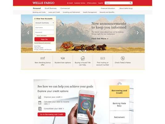 Sito Web di phishing che imita Wells Fargo