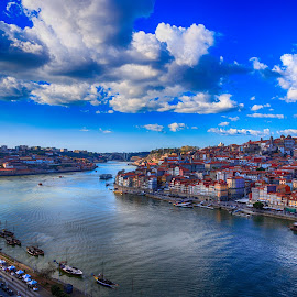 Porto by Abílio Neves - City,  Street & Park  Skylines ( water, clouds, boats, city, river )
