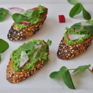 Vegan Pea and Mint Pesto Bruschetta