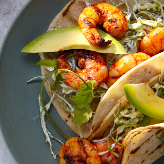 Grilled Shrimp Tacos with Pickled Onions.