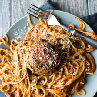 Slow Cooker One-Pot Spaghetti & Meatballs.