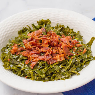 Quick Southern collard greens with bacon.