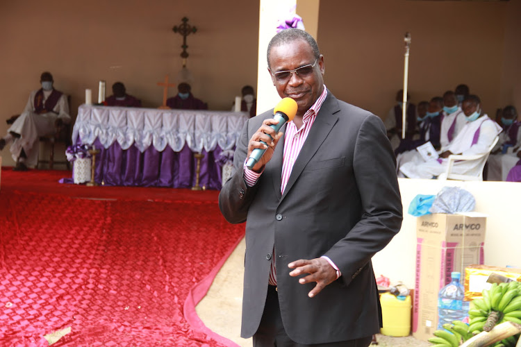 Former Nairobi Governor Evans Kidero speaks during prayer service at Asumbi catholic church in Rangwe constituency on February 21,2021