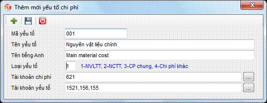 Danh mục yếu tố chi phí phần mềm kế toán 3tsoft