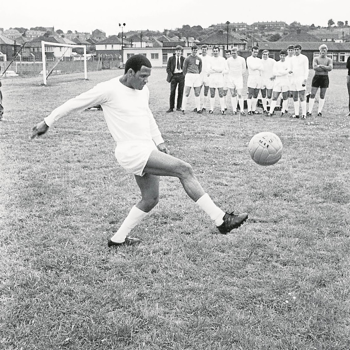 South African footballer Albert Johanneson of Leeds United in training during the 1968 season.