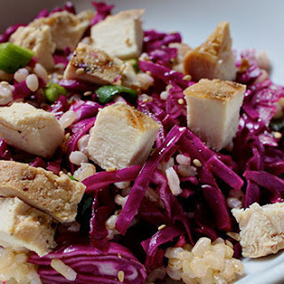 Rice Salad with Red Cabbage and Chicken
