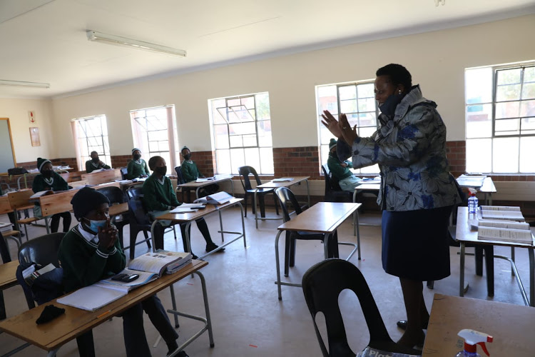 Basic education deputy minister Reginah Mhaule during a visit to schools in the Amajuba district in KwaZulu-Natal last year.