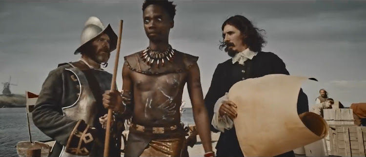A screenshot from Chicken Licken's commercial for their Big John burger featuring the adventure of John Mjohnana portraying his journey to Holland from 1650-1651.