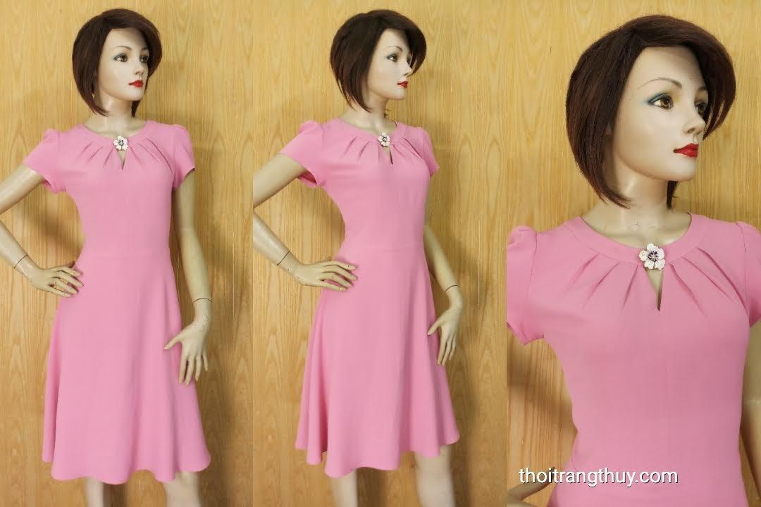Váy công sở dáng xòe cổ xếp ly ngắn tay V616 Thời Trang Thủy