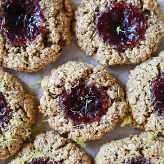 Flourless Lemon Raspberry Thumbprint Cookies.
