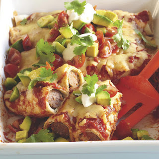 Enchiladas with Beef Sausage.