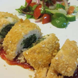 Chicken Breast Stuffed With Spinach And Mushrooms In The Oven.