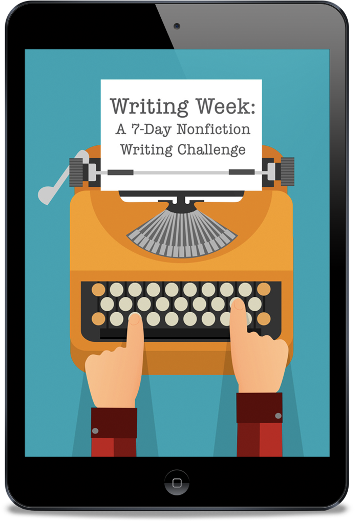 "how to write faster - image of writing week screen ""7 Day Nonfiction Writing Challenge"""