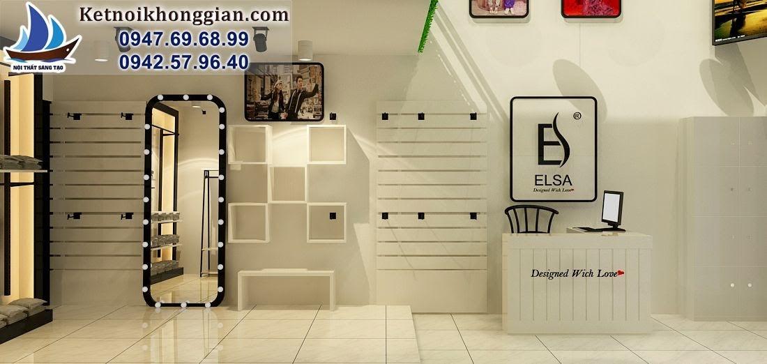 thiết kế shop thời trang nữ màu trắng tinh tế