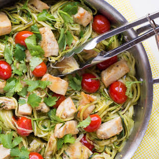 Zucchini Noodles with Cilantro Lime Chicken.