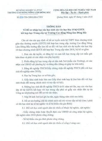 Thông báo về Hồ sơ xin nhập học vào lớp 10 hệ GDTX kết hợp học Trung cấp của trường Cao đẳng Nông lâm Đông Bắc