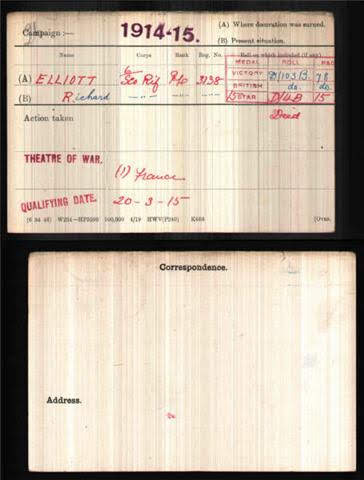 Richard G Elliott's Medal Index Card