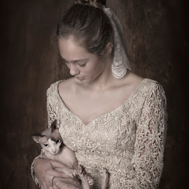 True love by Carola Kayen-mouthaan - Babies & Children Child Portraits ( cats, girl, fine art, portrait,  )