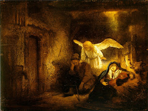 "Photo: Joseph Dream by Rembrandt  An Angel warned Joseph to flee into Egypt so that Jesus might escape the Massacre of the Innocents.   The Flight to Egypt  (The Visit of the Wise Men) 13 Now when they had departed, behold, an angel of the Lord appeared to Joseph in a dream and said, ""Rise, take the child and his mother, and flee to Egypt, and remain there until I tell you, for Herod is about to search for the child, to destroy him."" 14 And he rose and took the child and his mother by night and departed to Egypt 15 and remained there until the death of Herod. This was to fulfill what the Lord had spoken by the prophet, ""Out of Egypt I called my son."" Matthew 2:13-15 ESV. http://www.biblegateway.com/passage/?search=Matthew%202&version=ESV."
